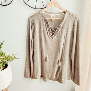 Target Brand Knox Rose Lace Up Long Sleeve sZ L